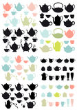 Coffee and tea pots and mugs, vector Stock Photo