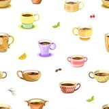 Coffee or tea poured in cup seamless pattern vector Stock Photos