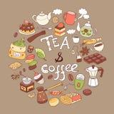 Coffee and tea round Stock Image