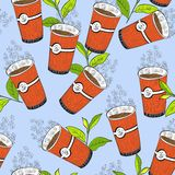 Coffee or tea seamless background pattern. Seamless background pattern. Will tile endlessly. Coffe or tea pattern on  background Royalty Free Stock Images