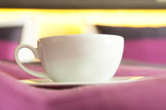 Coffee or tea served to bed. Cup of coffee/tea served directly to bed. Good morning Royalty Free Stock Photos