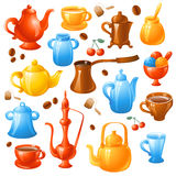 Coffee, tea set. Set of 15 colorful  coffee and tea set Stock Image