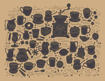 Coffee and Tea set items. Doodle. Vector. Hand-drawn Doodle on the theme of coffee and tea. vector illustration Stock Images