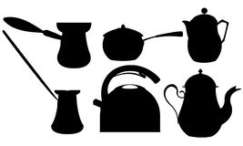 Coffee and tea silhouettes Royalty Free Stock Images