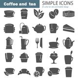 Coffee and tea simple icons set for web and mobile design. Coffee and tea simple icons set Stock Images