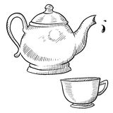 Coffee or tea sketch. Doodle style coffee or tea vector illustration with coffeepot, teapot, and cup Royalty Free Stock Image