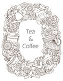 Coffee and Tea Sketch Doodles Pattern. Royalty Free Stock Photography