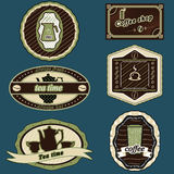 Coffee  and tea stickers green Stock Photo
