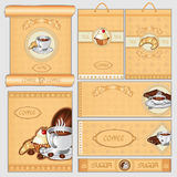 Coffee tea sugar cacke pack card set Royalty Free Stock Photo