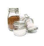 Coffee, tea and sugar in glass preserve jars. Collection royalty free stock photography