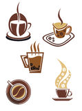 Coffee and tea symbols and icons Royalty Free Stock Photography
