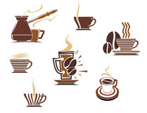 Coffee and tea symbols and icons Royalty Free Stock Images