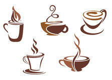 Coffee and tea symbols and icons Stock Photos