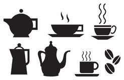 Coffee and tea tableware set. Coffee and tea tableware vector silhouettes Stock Photo