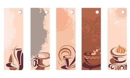 Coffee and tea tags. Coffee tea tag banner cream cup latte menu vector illustration