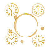 Coffee Tea Time Ring Stains and Clocks Royalty Free Stock Photo