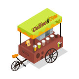 Coffee and Tea Trolley in Isometric Projection. Street fast food concept. Food truck with umbrella illustration. Isolated on white background. Hot refreshing Stock Photos