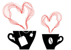 Coffee and tea, vector. Coffee and tea with heart steaming, vector royalty free illustration