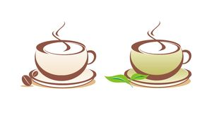 Coffee and tea vector illustration. Logotypes Stock Photo