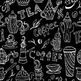 Coffee and tea. Vintage hand drawn doodle seamless pattern on chalkboard. Stock Images