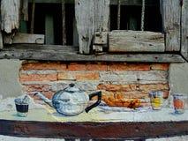 Coffee tea window wall breakfast. Thailand street art Royalty Free Stock Image