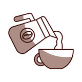 Coffee teapot with cup Stock Photo