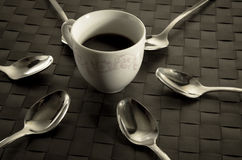Coffee and teaspoons still life Royalty Free Stock Photos