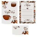 Coffee template. Template designs of menu and business card for coffee shop Stock Photo