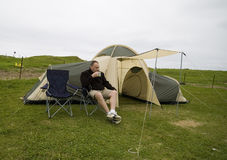 Coffee and tent. Stock Photography