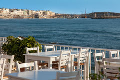 Coffee terrace with sea view stock image