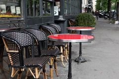 Coffee terrace with tables and chairs,Paris Stock Photo