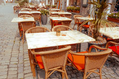 Coffee terrace with tables and chairs Stock Image