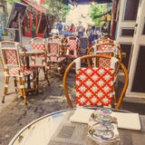 Coffee terrace with tables and chairs Royalty Free Stock Image