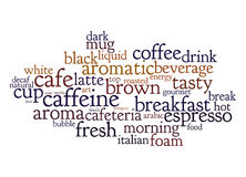 Coffee text cloud. An image of nice coffee text cloud Stock Photos