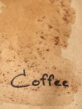 Coffee text on dirty paper Stock Photo