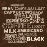Coffee text elements. Hand drawn text lettering of coffee and cafe terms Stock Photo