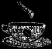 Coffee text graphic. And arrangement with cup shape concept Stock Photos