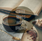 Coffee text on photo background Stock Photo