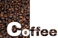 Coffee text on Roasted Coffee Beans and white background Royalty Free Stock Images