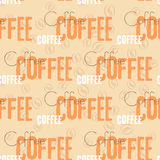 Coffee text seamless pattern. Beige word royalty free illustration
