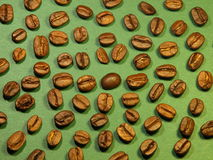 Coffee texture. With green background royalty free stock image