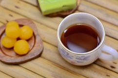 Coffee with thai dessert. Coffee with thai sweet dessert Royalty Free Stock Photo