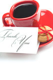 Coffee ,thank you card,cake nut and ribbon Stock Photography