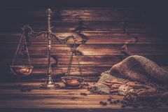 Coffee theme with brass scales Stock Photo