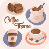 Coffee Theme Icons Set. Isolated on Beige Background. (Coffee Beans, Bag, Paper Cup and Ceramic Cup). Vector Illustration Stock Photography