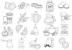 Coffee theme set of icons. Drinks and food. Outline drawings stock illustration