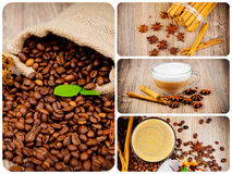 Coffee theme set. Several photoes on coffee theme stock photo