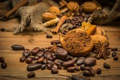 Coffee theme still-life. On wooden table royalty free stock photo