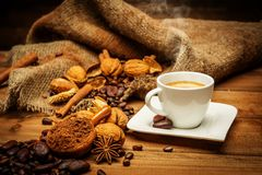 Coffee theme still-life. On wooden table royalty free stock image