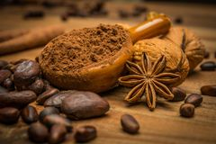 Coffee theme still-life. On wooden table royalty free stock photography